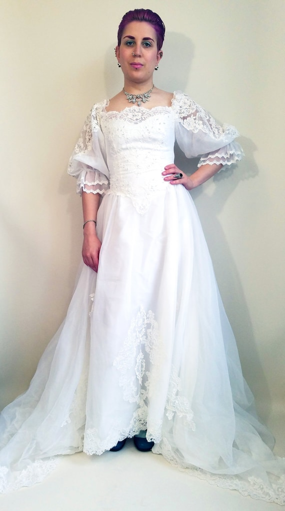 4 Wedding Dress Bridal Princess Train Dress Vintage 80s Bridal Dress Wedding Gown 80s 80s Long Vintage Size Victorian Gown Wedding Lace qPAtw0