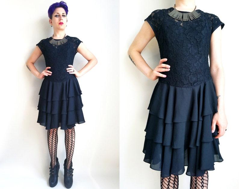 93c2f02a9541 SALE 30% off 90s Clothing black ruffled little black dress