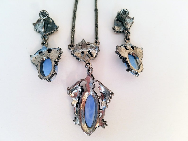 50s Jewelry Silver and Blue Agate Necklace and Earring Set Vintage Jewelry Set 50s Necklace 50s Cocktail Party Blue Stone Necklace Set