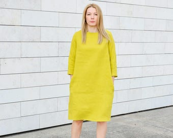 Yellow linen dress for women oversized with pockets, Lithuanian natural linen clothing, linen dress, linen clothing for women, plus size