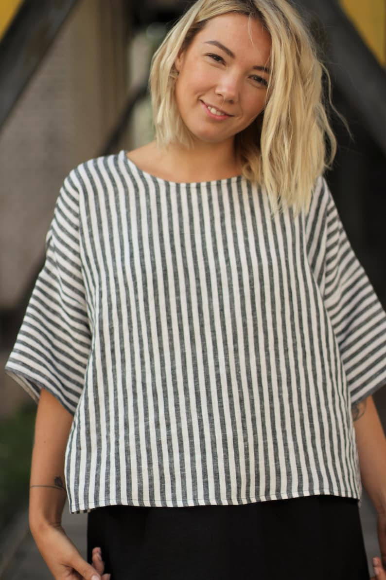 loose linen top with drop shoulder sleeves available in 31 color linen blouse Square linen top oversized linen top