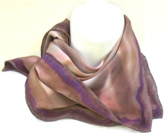 3ad142123577 Small handpainted silk square in tones of brown and tawny pink with purple.  Women s silk hand painted bandana or neckerchief