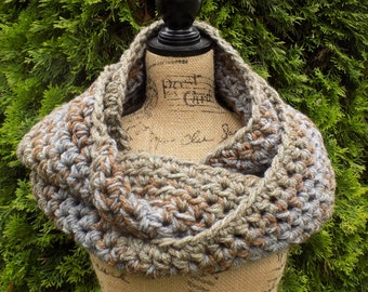 Chunky Ombre Eternity Scarf- grey, beige, brown