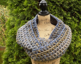 Chunky Ombre Eternity Scarf- blue, golden brown, grey