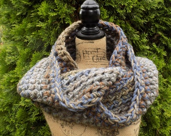 Chunky Ombre Eternity Scarf- blue, grey, beige, brown