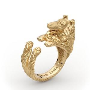 Sterling Silver 14k Gold Handmade Lady Cocker Spaniel Cuddle Wrap Ring