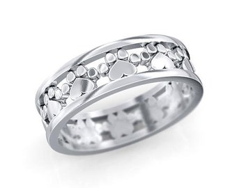 Paw prints and hearts loop eternity band