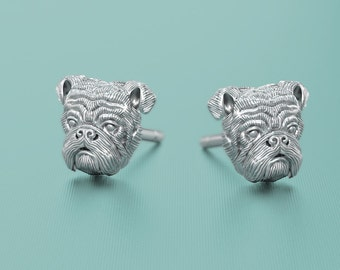 Handmade Silver English Bulldog Earring Studs in Oxidized Sterling Silver for all the Dog, Puppy, and Pet Lovers
