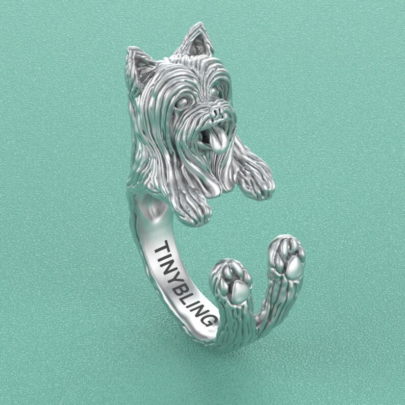Great for all the Dog Jewelry Puppy Handmade Yorkshire Terrier LONG COAT 925 Sterling Silver Cuddle Ring and Pet Lovers