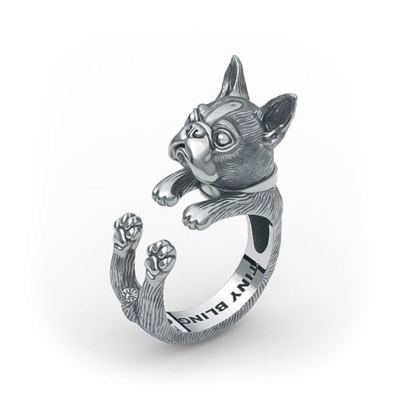 Handmade Boston Terrier Cuddle Ring Sterling Silver 14k Gold Sterling Silver
