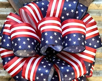 Bow, Red White Navy Blue Patriotic Bow, Mail Bow Bow, Wreath Bow, Package Gift Bow, 4th of July Bow, Veterans Day Bow,Bow for Wreaths