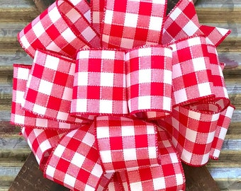 Red White Gingham Bow, Lantern Bow, Gift Package Bow, Mail Box Bow, Wreath Bow, Bow for Wreaths, Red White Bow, Floral Bow, Stair Rail Bow