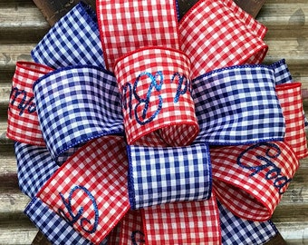 Red White Blue Stars Stripes Bow, Patriotic Bow, 4th of July Bow, Memorial Day, Bow for Wreaths, Veterans Day Bow , Wreath Bow, Lantern Bow
