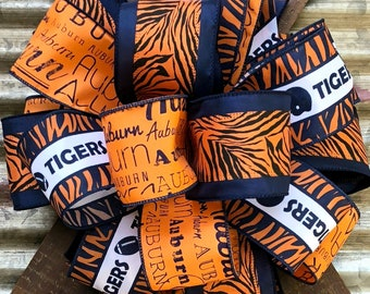 Auburn Bow, Game Day, Burnt Orange Navy Blue Bow, Craft Bow, Wreath Bow, Mailbox Bow, Bow for Wreaths, Tailgating Bow, Tigers Dorm bow