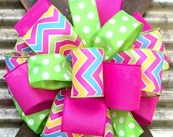 Package Bow, Gift Bow, Party Bow, Craft Bow, Wreath Bow, Basket Bow, Spring Bow, Stair Rail Bow, Spring Summer Bow, Lime Green Pink bow