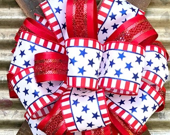 Red White Blue Patriotic Bow, Star Stripes Bow, Wreath Bow,Package Gift Bow, 4th of July Bow, Veterans Day Bow,Bow for Wreaths, Memorial bow
