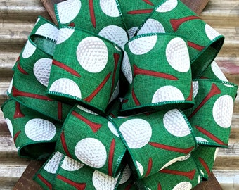 Green Red White Golf balls Bow, Wired Wreath Bow, Package Gift Bow, Wreath Bow, Bow for Wreaths,  Lantern Bow, Father's Day Bow, Floral Bow