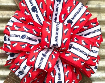 Red White Blue Football Cowboy Hats Mississippi Bow, Sports Bow, Wreath Bow, Bow for Wreaths, Lantern Bow, Gift Package Bow