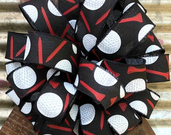 Black Red White Golf ball Bow, Wired Wreath Bow, Package Gift Bow, Wreath Bow, Bow for Wreaths,  Lantern Bow, Father's Day Bow, Floral Bow