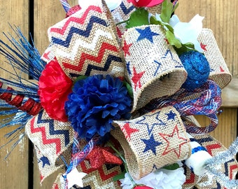 Lantern Bow* Summer Swag* July 4th Decor* Patriotic Centerpiece* Red White Blue Bow* Silk Flower Swag*  Lantern Swag* Veterans Day bow
