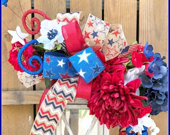 Lantern Swag* Summer Swag* July 4th Decor* Patriotic Centerpiece* Red White Blue Swag* Silk Flower Swag*  Lantern Swag* Veterans Day swag