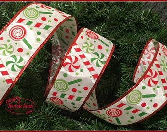 christmas candy red green white peppermint wired ribbon wreath ribbon bow ribbon christmas tree ribbon christmas ribbon wired ribbon
