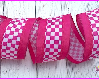 Pink White Check Pattern Wired Ribbon, Gift Package Ribbon, Scrap Book Ribbon, Bow Ribbon, Wreath Ribbon, Package Ribbon, Wired Ribbon