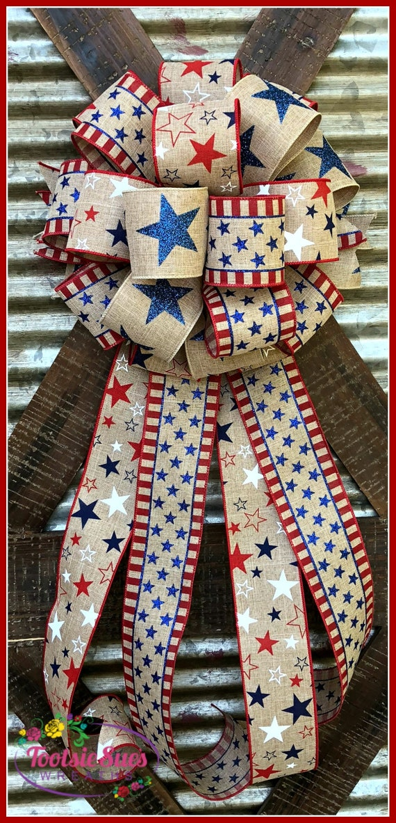 Patriotic USA Bow, Red White Blue Patriotic Bow, Wreath Bow, Package Gift Bow, 4th of July Bow, Veterans Day Bow, Bow for Wreaths