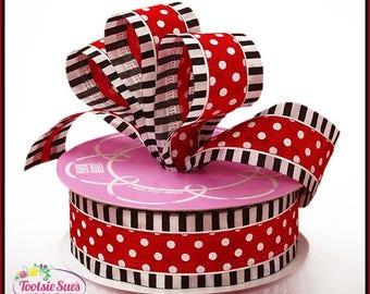 Wired Ribbon, Red White Black Polka Dot Wired Ribbon, Bow Ribbon, Ribbon, Gift Package Ribbon, Stripes Dots Ribbon, Wreath Ribbon, Craft