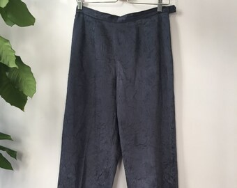 SALE Dark green raw silk straight leg cropped pants ~ size 10