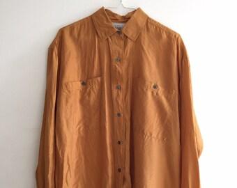 783edec855bae Vintage minimal oversized 90 s long sleeve button down silk blouse size M