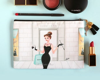 Cosmetic bag, makeup pouch, pouch, purse, fashion, tiffany, art , gift for her, audrey hepburn, cosmetic pouch -Breakfast at Tiffany