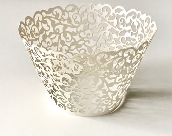 12 pcs White Classic Filigree Lace Cupcake Liners Baking Cup Cupcake Wrapper Wrappers Wedding