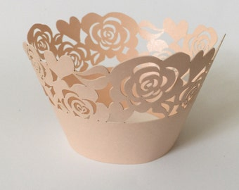 12 pcs Beautiful Rose Gold Garden of Roses Wedding Filigree Cupcake Liners Liner Baking Cup Cupcake Wrapper Wrappers
