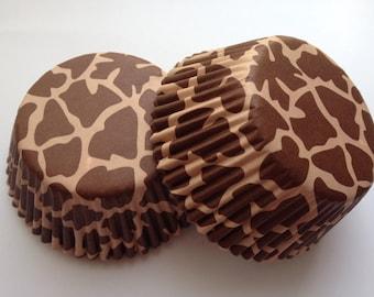 Giraffe spot cupcake Liners 50 count tea party colorful animal print brown tan