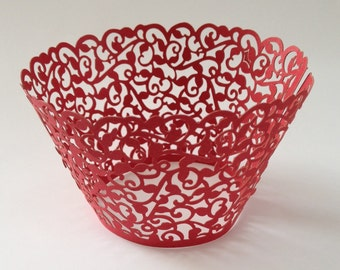 12 pcs Beautiful Red Classic Filigree Cupcake Liners Baking Cup Wrapper Wrappers Standard Size