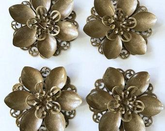 10 pcs Flower Bronze Embellishment Scrapbooking Paper Metal Stamping Lace Floral