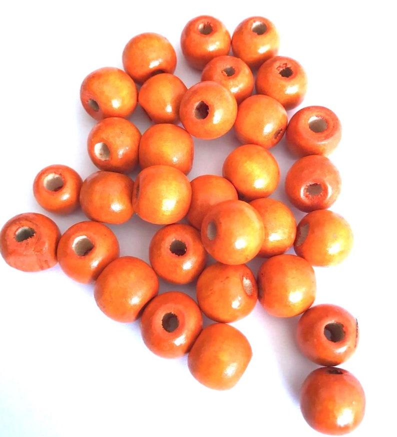 100 pcs Half Drilled Orange Wood Beads Round 16mm Bead Jewelry Making Wooden Tool 4h