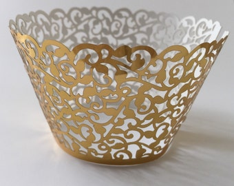 12 pcs Beautiful Metallic Gold Classic Filigree Lace Cupcake Liners Liner Baking Cup Cupcake Wrapper Wrappers Shiny