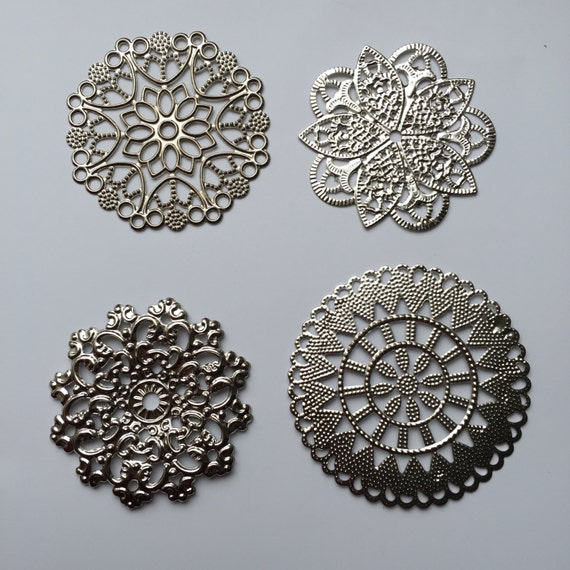 20 Silver Plated Corner Filigrees Findings