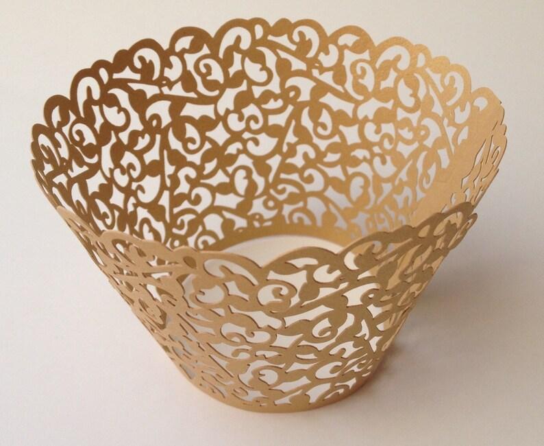 12 pcs Beautiful Gold Classic Lace Wedding Filigree Cupcake image 0