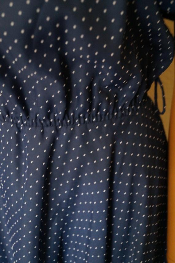 50's 60's Polka Dots Navy Dress Peter Pan Collar … - image 8
