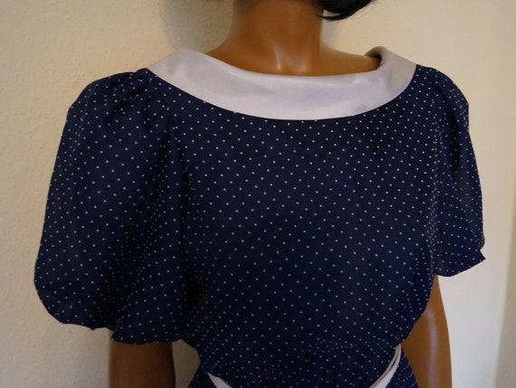 50's 60's Polka Dots Navy Dress Peter Pan Collar … - image 5