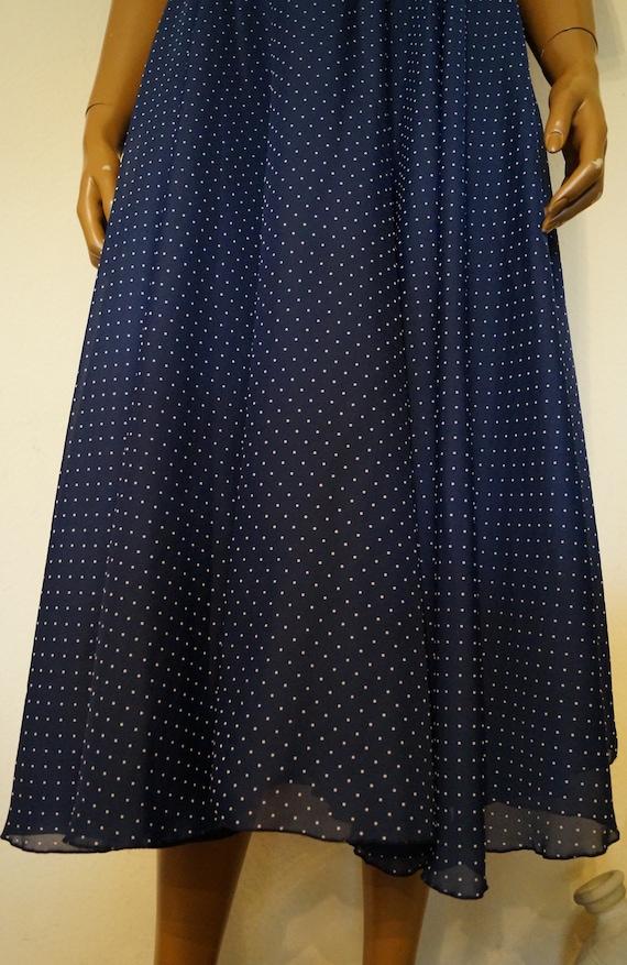 50's 60's Polka Dots Navy Dress Peter Pan Collar … - image 4