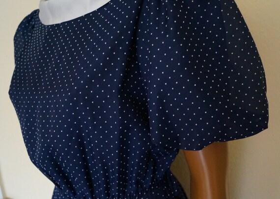 50's 60's Polka Dots Navy Dress Peter Pan Collar … - image 6