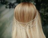 Hair chain with gem accents, Hair halo, Halo chain, Bridal hair piece, Head chain