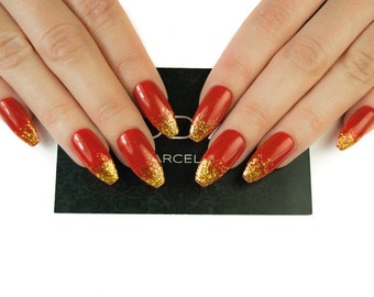 Red With Gold Tips Nails Fake Press On Uv Gel Christmas False Coffin Stiletto Almond