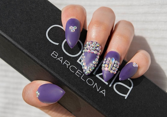 Purple Matte With Real Crystals Nail Design Fake Nails Etsy
