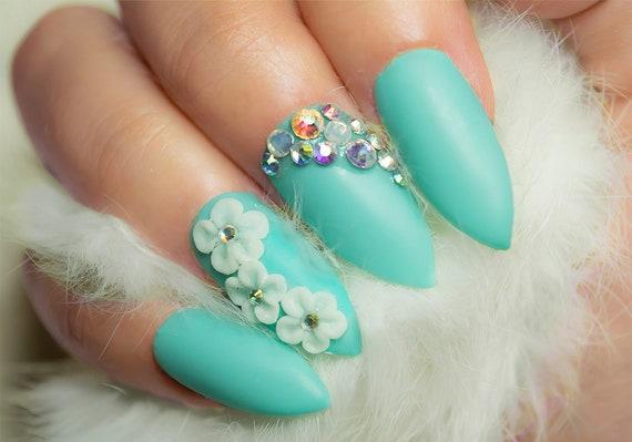 3d Nail Art Flowers Blue Stiletto Bling Press On Nails Etsy