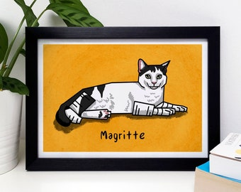 Cartoon Cat Portrait, Custom Pet Portrait, Quirky Cat Art, Cat Owner Gift, Animal Lover Gift, Housewarming Gift